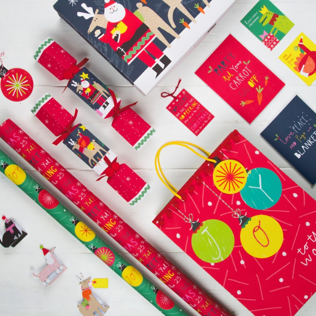 glitter-free Christmas cards and wrap